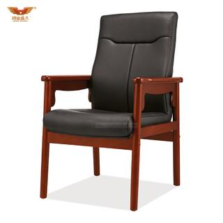 广东鸿业盛大办公家具 厂家直销 实木扶手电脑椅办公椅 皮质会议椅D-354