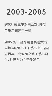2003 成立电器事业部,开发与生产高速干手机。 2005 第一台搭载着高速数码电机AK2005H干手机上市,国内最早 拷贝