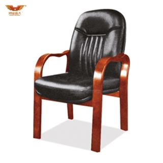广东鸿业盛大办公家具 厂家直销 实木扶手电脑椅办公椅 皮质会议椅D-323