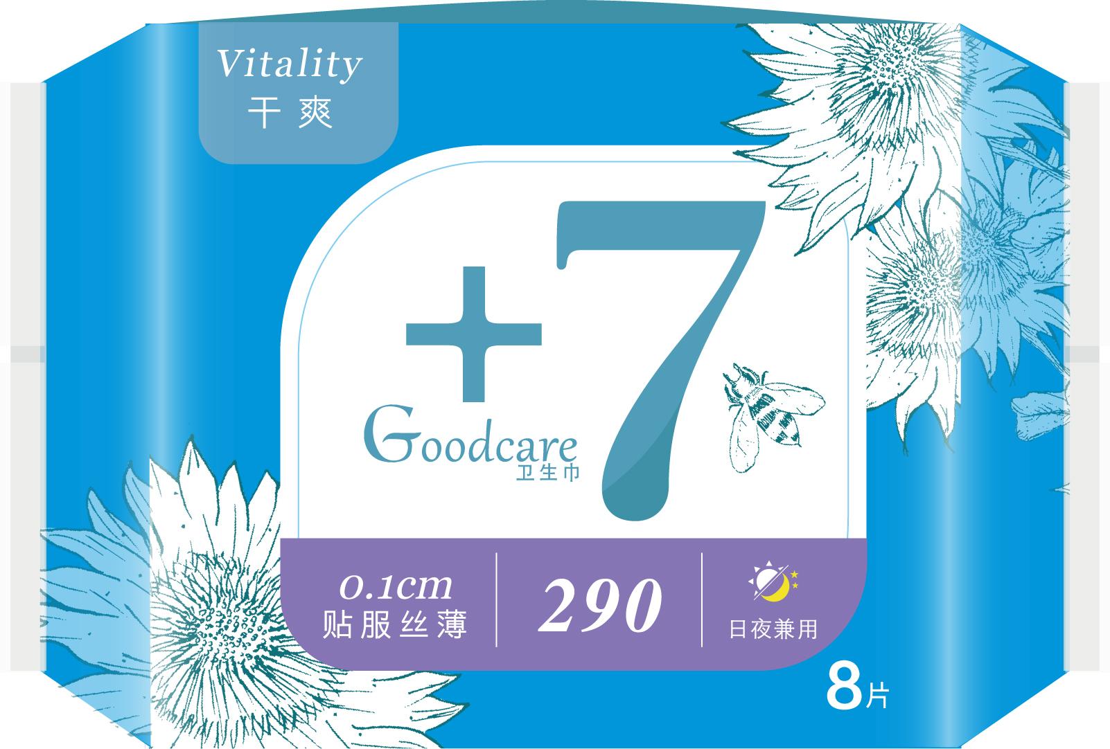 +7丝薄干爽夜用290mm卫生巾8片