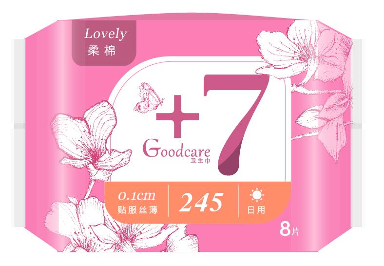 +7丝薄柔棉日用245mm卫生巾8片