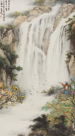 壁纸 风景 国画 旅游 瀑布 山水 桌面 263_476 竖版 竖屏 手机