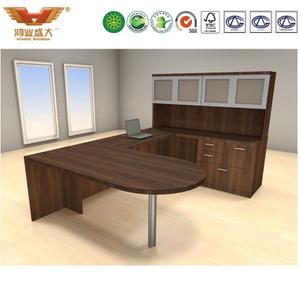 广东办公家具 实木贴皮U型办公桌 中式经理办公桌 04