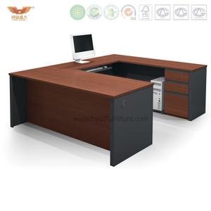 鸿业盛大办公家具 厂家直销 实木贴皮U型办公桌 中式主管办公桌 02